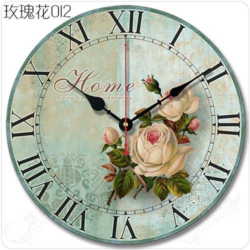 Komo con movimento silenzioso sweep retrò grande soggiorno minimalista decor classico creative orologi da parete,14 pollici,012 roses