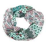 MANUMAR Loop-Schal für Damen   Hals-Tuch in Grün mit Blumen Motiv als perfektes Herbst Winter Accessoire   Schlauchschal   Damen-Schal   Rundschal   Geschenkidee für Frauen und Mädchen