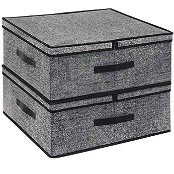 seitlichen Griffen SONGMICS Aufbewahrungsboxen f/ür Spielzeug stapelbare Faltboxen mit magnetischem Klappdeckel Metallrahmen grau-beige RPLB02G Kleidung mit transparentem Sichtfenster 2er Set
