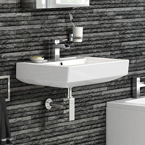 iBathUK Modern Square Ceramic Basin Wall Hung Bathroom Sink CA612FB