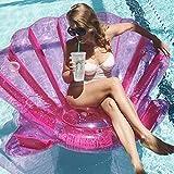 MICOKY Guscio Gonfiabile dell'Acqua Galleggiante Fila Rosa Trasparente capesante Galleggiante con Un Foro per Tazza 213 * 208