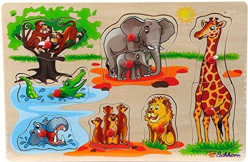 Eichhorn Holz-Steckpuzzle Holz Kinder Puzzle Bauerhof Tiere Fahrzeuge ab 2 Jahre: Farbe: Tiere