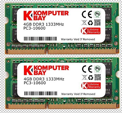 Komputerbay 8GB (2X4GB) DDR3 SODIMM (204 pin) 1333Mhz PC3-10600 (9-9-9-25) Laptop Notebook Speicher für Apple Mac Mini (Pc3-10600 Pin 204 Ddr3)