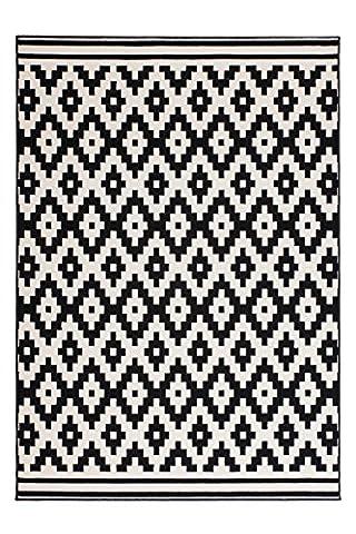 Moderner Designer Teppich Ural 300 Schwarz / Weiß 200cm x 290cm