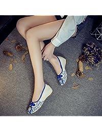 ZQ Gestickte Schuhe, Leinen, Sehnensohle, ethnischer Stil, weibliche Schuhe, Mode, bequem, Piste Erhöht , black , 38