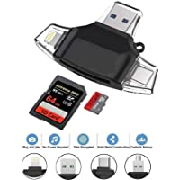 Brand Conquer 4 in 1 OTG Card Reader Four Ports : Lightning + Type C + Micro USB + USB Card Reader - Like Iflash, Idisk for iPhone, Ipad, Micro USB, SDHC Lightning Flash Drive. (Pro Plus, Black)