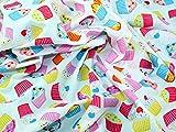 Cupcakes Print Polycotton Kleid Stoff mehrfarbig–Meterware + Frei Minerva Crafts Craft Guide
