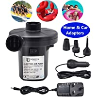BOMPOW Electric Pump for Inflatables Quick Inflator Pump for Air Mattress Air Bed Paddling Pool Swimming Ring Camping Inflatables Inflate Deflate Pump with 3 Nozzles, AC 230V/DC 12V 50W