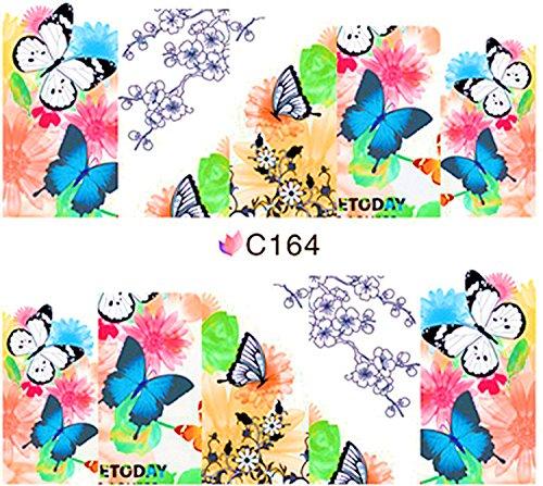 1 planche de Slider/Wrap/Full Cover Nail Stickers pour ongles, Hydrosoluble : C de 164 Papillons & fleurs