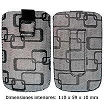 Ksix Squares - Funda universal para móvil, talla M (con pasador para cinturón, cierre velcro, sistema saca fácil), negro