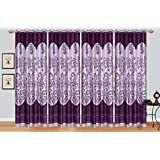 Rj Products Purple Printed Poly Cotton Window Curtain - Set Of 4 (SIZE : LONG DOOR 9FT)