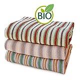 SonnenStrick 3009012 Erstlingsdecke/Babydecke/Kuscheldecke/Strickdecke mit zartem Streifenmuster aus 100 Prozent Bio Baumwolle 80 x 80 cm, rot