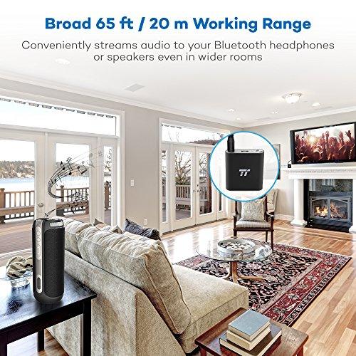 Bluetooth Adapter Transmitter 4.1TaoTronics 20 m / 65 ft, aptX Geringe Latenz, mit 2 Geräten verbinden, Duale 3,5mm- & RCA-Verbindung, Funktioniert während des Ladens