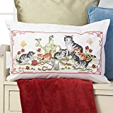 Stickpackung Cat's Place mit Niedlichen Katzen - Kissenhülle 40x60 - Kreuzstich vorgezeichnet - aus 100% Baumwolle - Qualitativ Hochwertig - vorgedruckte Stickvorlage - Zum Selbersticken