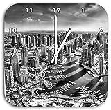 Monocrome, Dubai Hotel Burj al Arab, Wanduhr Durchmesser 28cm mit schwarzen spitzen Zeigern und Ziffernblatt, Dekoartikel, Designuhr, Aluverbund sehr schön für Wohnzimmer, Kinderzimmer, Arbeitszimmer