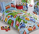 Kids Club Trains Bed Duvet Cover and 2 Pillowcases Set, Polyester-Cotton, Blue, Double
