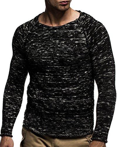 LEIF NELSON Herren Pullover Strickpullover Hoodie Basic Rundhals Crew Neck Sweatshirt langarm Sweater Feinstrick LN20713; Gr_¤e M, Schwarz