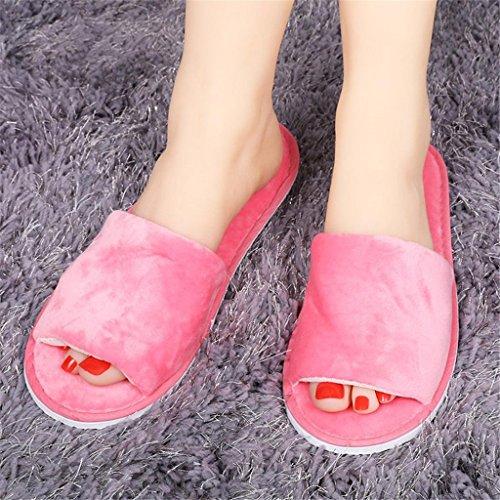 Donne/uomini spa pantofole flip flops aprire il piede lavabile per l'hotel, la casa, il viaggio, spa uso 5 paia, red (quan bao), female models (36-40)