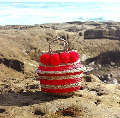 """Brunna Red """"Stripes Tribes Classic"""" Beach Basket / Beach Bag, Bridesmaid Bag, Pompom Bag, Boho Bag, Pom-pom Straw Bag, Pom-pom Bag, Storage Basket, Nursery Basket - handmade-bags"""