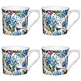 Kitchen Craft AMZKCMFLT09SET4 Schmale Taße mit Blumen Druckcountry Floral, 300 ml, Porzellan, mehrfarbig, 8,5 x 11,5 x 8 cm, 4-Einheiten