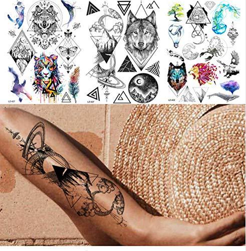 ruofengpuzi Tattoo AufkleberImprägniern Sie den Erwachsenen geometrischen Wolf der schwarzen großen temporären Tätowierungsmänner und -Frauen gefälschten Tätowierungskörperarm-Tätowierungsaufkleber - Engel Tattoos Frauen