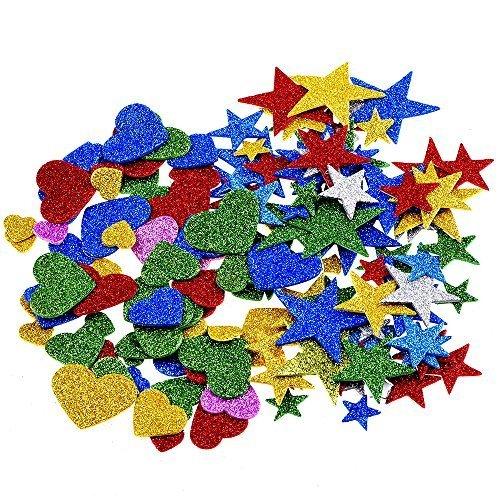 1.27 Unze Foam Glitter Stickers Sternaufkleber Herzaufkleber,Star und Mini Herz (Unze-schaum 4)