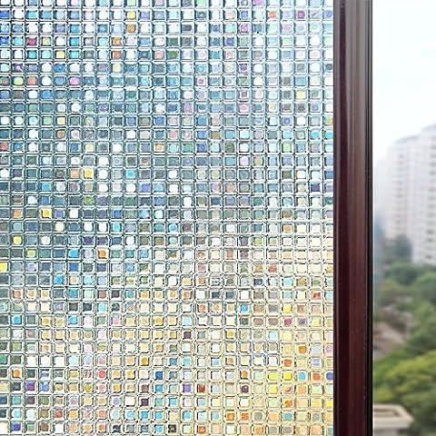 Rabbitgoo® No-Glue Non-Adhesive Static Illuminative Decorative Glass Window Film Sticker Anti-UV 90cmx200cm 3ftx6.5ft Small Mosaic Upgrade Version for Home Kitchen