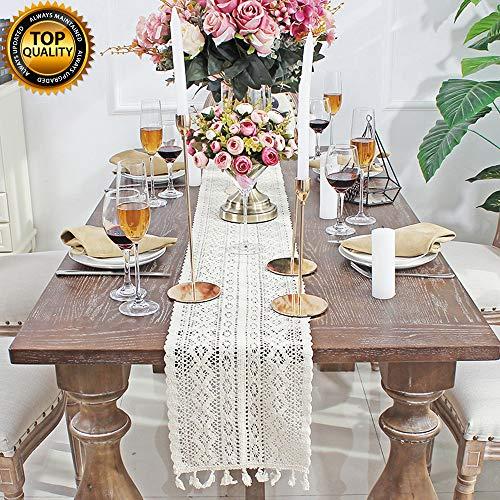 iße Makramee Tischläufer rechteckige Häkelspitze elegante hohle Mesh Tischdecke für rustikale Boho Hochzeit Dekor Braut & Baby Dusche Dekoration Vintage Bauernhaus Tabletop Dekor ()