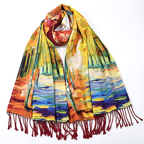 Double-Sided Thickened Silk Brushed Scarf Oil Painting Scarf Long Section Double Silk Scarf Shawl Hand Weave Tassel 175CM * 52CM HQ.ADIER