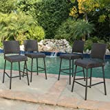 Christopher Knight Home 299570 Neal Outdoor Rattan Barhocker, (Set of 4), Dunkelbraun