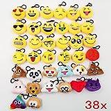 JZK 38pcs mini juguete de peluche, emoji llavero emoticonos llavero emoción para niños & adulto fiesta de cumpleaños favores rellenos bolso partido decoraciones para fiestas ( 5cm / 2 pulgadas)