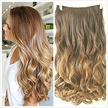 34 full head clip in hair extensions ombre one piece 2 tones wavy 34 full head clip in hair extensions ombre one piece 2 tones wavy chocolate brown to dark blonde amazon beauty pmusecretfo Images
