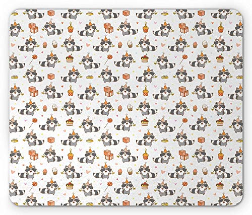 Raccoon Mouse Pad, Happy Birthday Theme with Cupcakes Candies Gifts Party Sweets Fun Image, Standard Size Rectangle Non-Slip Rubber Mousepad, Grey Salmon White
