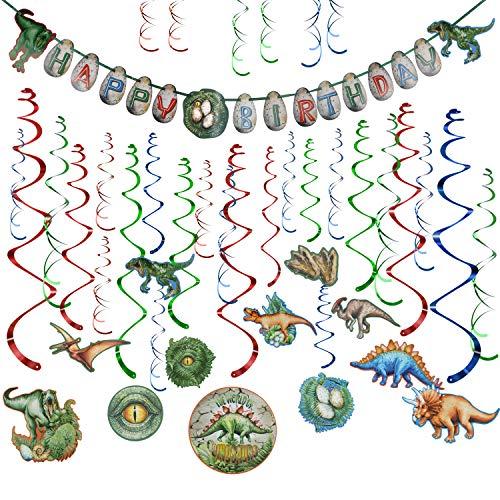 Howaf Dinosaurier Geburtstag Deko Dinosaurier Banner Dinosaurier Deko hängende Spiralen Girlande für Dinosaurier Party Dekoration Set