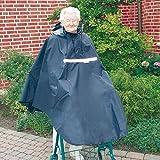 Poncho für Rollator/Gehramen mit 2 Gummischlaufen für die Arme┇Wasse- und winddicht - Mit Reißverschluss, Mütze und Sichtfenster