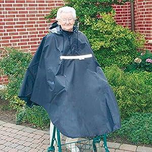 Poncho für Rollator/Gehramen mit 2 Gummischlaufen für die Arme┇Wasse- und winddicht – Mit Reißverschluss, Mütze und Sichtfenster