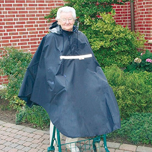 Poncho para andador/gehramen con 2correas de goma para los brazos ┇ wasse y al viento–con cremallera, gorro y ventana