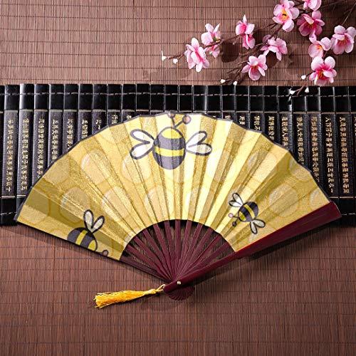 AGIRL Bambus Fans Handheld Cartoon Doodle niedlichen Bienen mit Bambus Rahmen Quaste Anhänger und Stofftasche Beste Hand Fan Fan Hand tragbare Handheld - Zeiten Aller Beste Halloween-cartoons