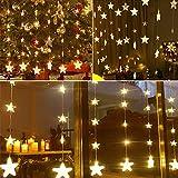 TianranRT Sterne Vorhang Lichter 40 Sterne Lichter Fenster String Lichter Stecker Vorhang String (Gelb)