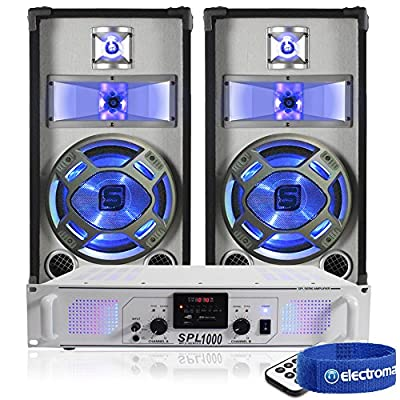 "Skytec 2x Blue LED 10"" Disco PA Speakers + DJ Amplifier + Cable System 800W"