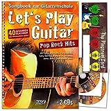 Let's Play Guitar Pop Rock Hits-40de guitare classique sans Note connaissances jouer d'Alexandre Espinosa-SONGBOOK la guitare école avec 2CD et de la musique de Schubert Médiator Card