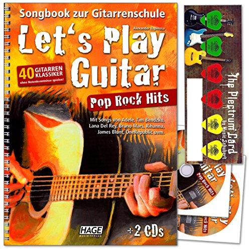 Let's Play Guitar Pop Rock Hits - 40 Gitarren-Klassiker ohne Notenkenntnisse spielen von Alexander Espinosa - Songbook zur Gitarrenschule mit 2CDs und Musik-Schubert Plektrum-Card©