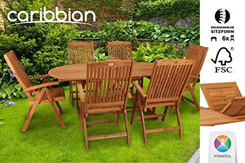 Sitzgruppe Belmont Gartenset Sitzgarnitur 6 Personen Holz Gartenmöbel Gartengarnitur Tisch