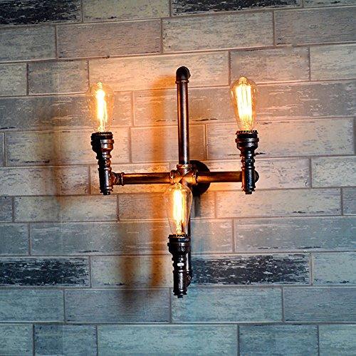 HJZY Vintage industriel steampunk pipe d'eau fer forgé trois têtes mur applique murale E27 3 lampes Design tuyau d'eau lampe murale haute: 53 cm