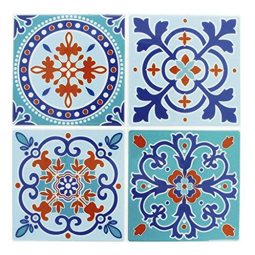 4 stickers deco Mosaïques 12x12cm style Azulejos/Carreaux de ciment Bleu
