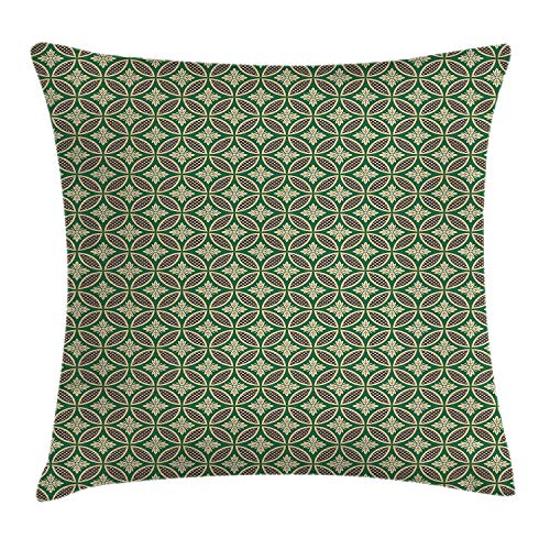 Green Oriental Throw Pillow Cushion Cover, Interlocking Ornamental Mosaic Tiles Petals Circular Shapes, Decorative Square Accent Pillow Case, 18 X 18 inches, Jade Green Beige and Black Petal Crown Flower Shape