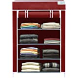 FLIPZON Collapsible Fabric Wardrobe Organizer for Clothes (Iron and Non Woven Fabric) Maroon, 4 Layer