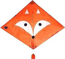 EMMAKITES Diamantdrachen Herr. Fox / Little Star 80cm Single Line mit Doppelschwänze und Kite String - einfach zu fliegen - Kite für Kinder und Erwachsene
