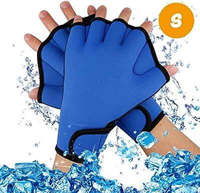 A-szcxtop buceo Webbed Guantes Ejercicio acuático agua resistencia nadar guantes sin dedos natación Mano Tejido para el entrenamiento de natación