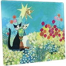 WENKO 2712911500 Placa con motivo Rosina Wachtmeister - para cocinas de vidriocerámica, Vidrio endurecido, 50 x 0.5 x 56 cm, Multicolor